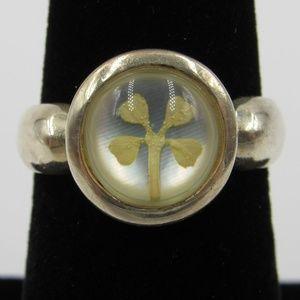 Vintage Size 6.25 Sterling Rustic Floral Band Ring